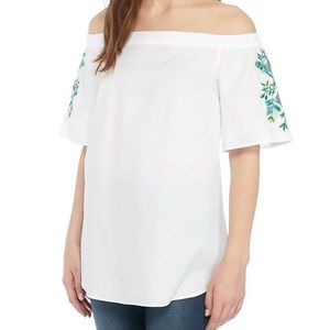 White off Shoulder Embroidered Sleeve Top